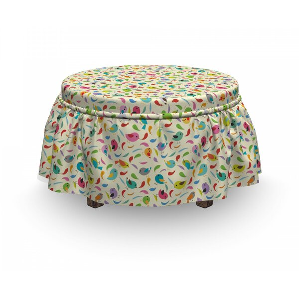 Tweeting Plumpy Swallow Ottoman Slipcover (Set Of 2) By East Urban Home