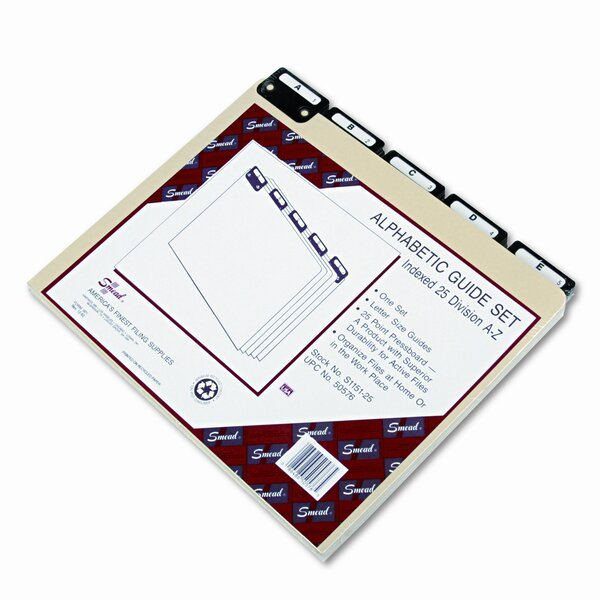 Pressboard Alpha Recycled Top Tab File Guides, 1/5 Tab, Letter, 25/Set by Smead Manufacturing Company
