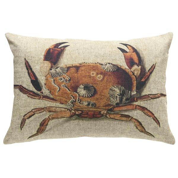 Chagoya Crab Linen Throw Pillow by Highland Dunes