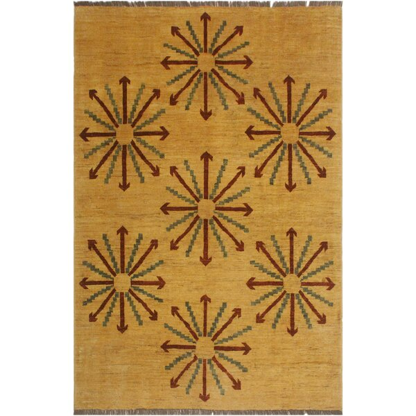 One-of-a-Kind Lyle Peshawar Hand Knotted Wool Tan/Red Area Rug by World Menagerie