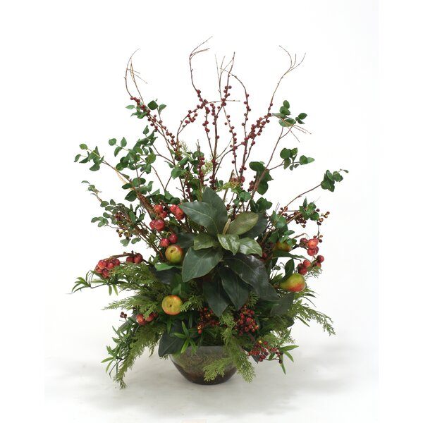 Faux Fruit Sprays, Magnolias and Foliage Desk Top Plant in Bowl by Distinctive Designs