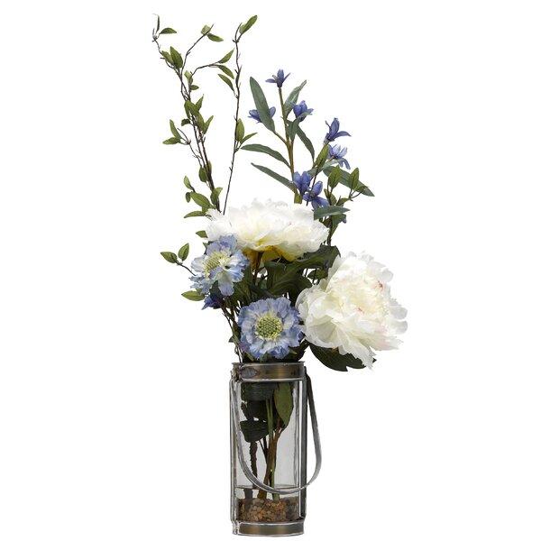 Peonies Scabiosa Desktop Flowering Plant in Decorative Vase by Gracie Oaks