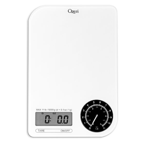 Rev Digital Kitchen Scale with Electro-Mechanical Weight Dial by Ozeri
