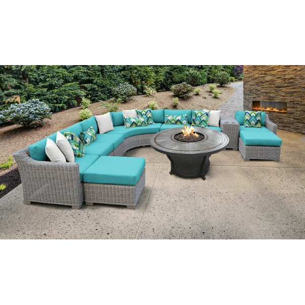 Claire 11 Piece Rattan Sectional Seating Group with Cushions by Rosecliff Heights