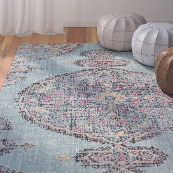 Schifflange Traditional Aqua/Multi Area Rug by Bungalow Rose