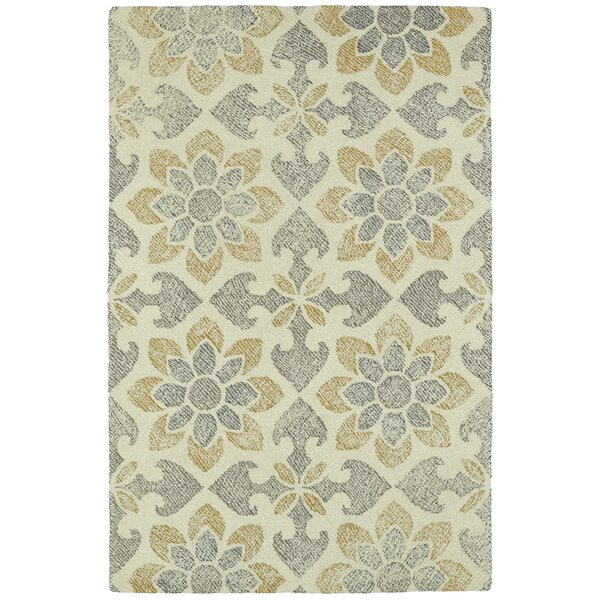 Rosalind Hand-Tufted Wool Gray/Yellow Area Rug by Darby Home Co