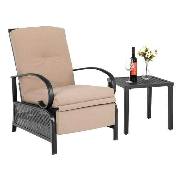 Sandin Adjustable Relaxing Recliner Patio Chair With Cushions And Table (Set Of 2) By Red Barrel Studio