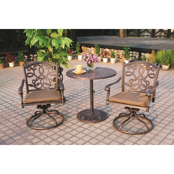 Calhoun 3 Piece Bistro Set with Cushions by Fleur De Lis Living