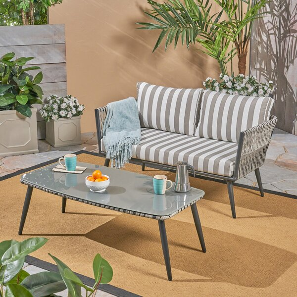 Maguire 2 Piece Rattan Sofa Seating Group with Cushions by Wrought Studio