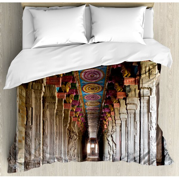 Pillar Spiritual Theme Inside of Old Meenakshi Temple in South India Digital Image Duvet Set by Ambesonne