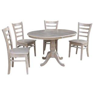 Petra Extendable Pedestal 5 Piece Solid Wood Dining Set ByAugust Grove