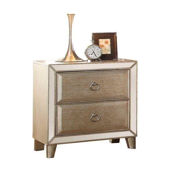 Caterina Mirrored 2 Drawer Nightstand by Rosdorf Park