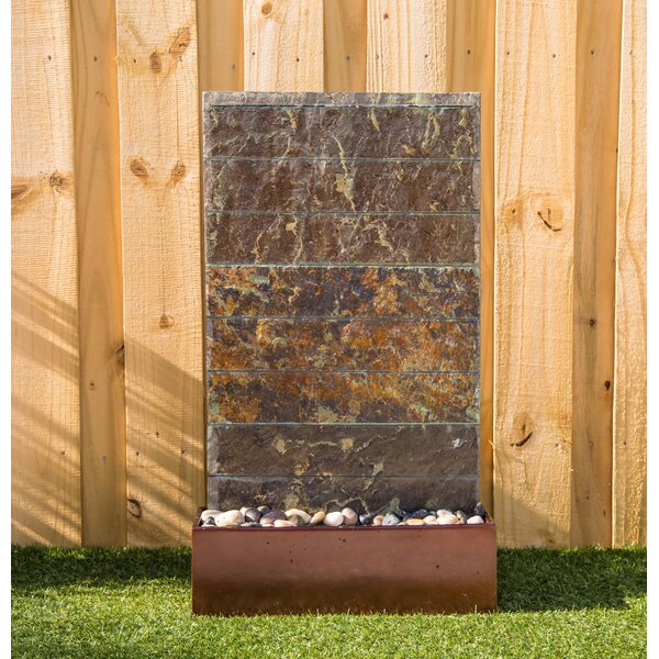 Natural Stone Brook Floor Fountain with Light by Wildon Home ®