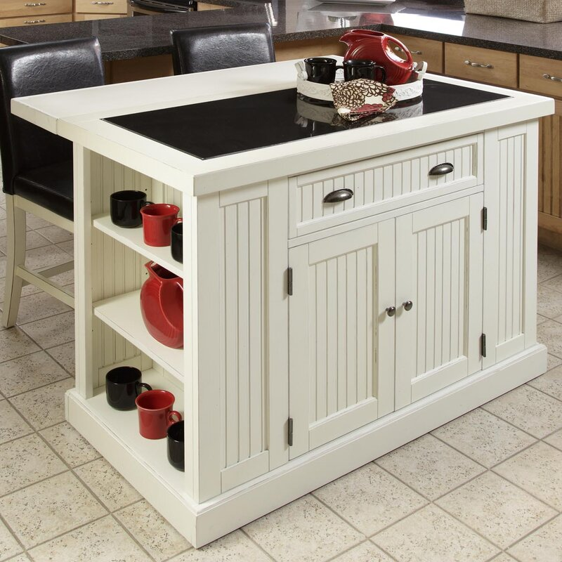 Kitchen Island Table Granite: Beachcrest Home Rabin Kitchen Island With Granite Top & Reviews