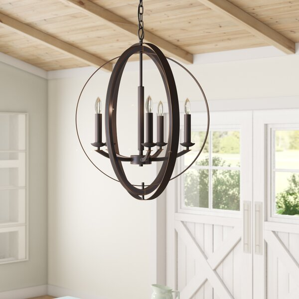 Dearmond 5 - Light Unique / Statement Globe Chandelier by Three Posts Three Posts