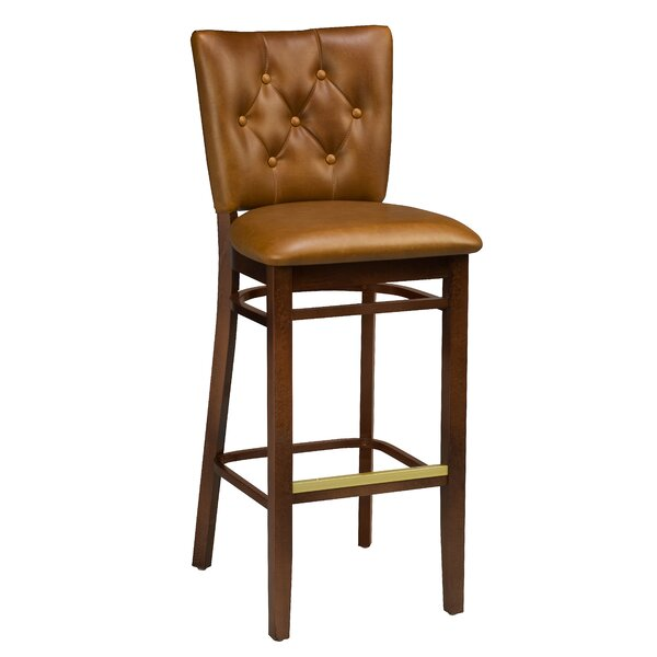 Annamaria Beechwood Button Tufted Bar Stool by Darby Home Co