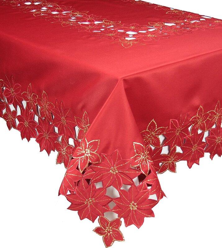 Festive Poinsettia Embroidered Cutwork Christmas Table Cloth Nice Ideas