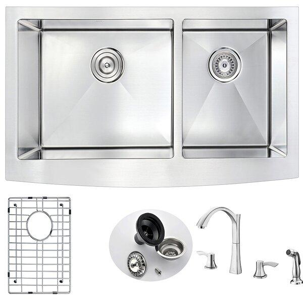 Elysian 35.88 x 20.75 Double Basin  Farmhouse Kitchen Sink with Faucet