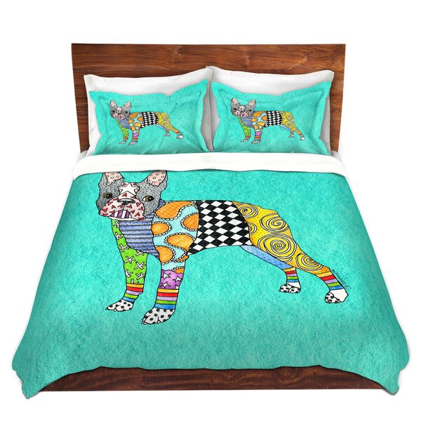 Shaughnessy Marley Ungaro Boston Terrier Turquoise Microfiber Duvet Covers by Ebern Designs