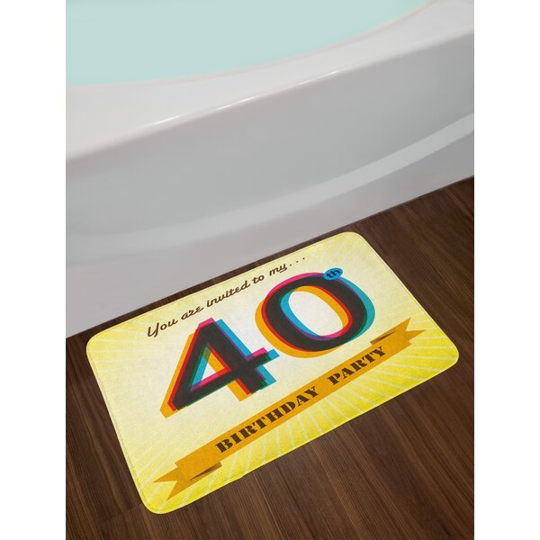 Vintage Multicolor 40th Birthday Bath Rug by East Urban Home