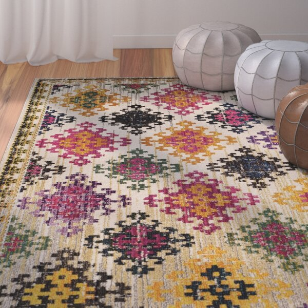 Chana Yellow/Pink Area Rug by Bungalow Rose