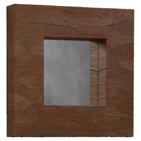 Keewatin Mahogany Leaf Square Accent Mirror by Loon Peak