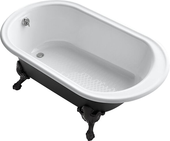 Iron Works Works Historic 66 x 36 Freestanding Oval Bath with Iron Black Exterior and Safeguard Finish by Kohler