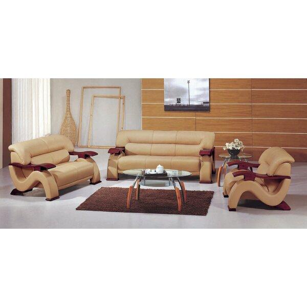Belgr Leather 3 Piece Living Room Set by Orren Ellis