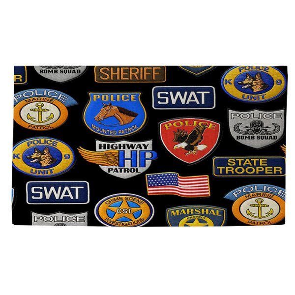 Police Patches Area Rug by Manual Woodworkers & Weavers