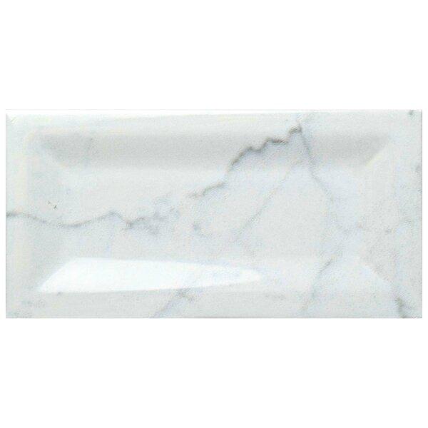Karra Carrara 3 x 6 Ceramic Subway Tile in Glossy Inmetro White/Gray by EliteTile