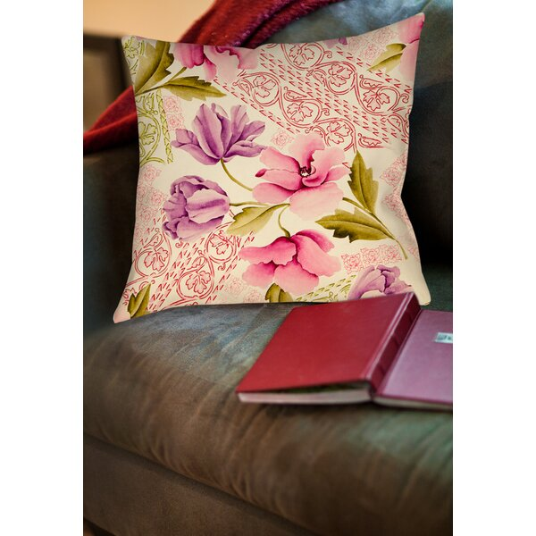 Tulips and Lace Printed Throw Pillow by Manual Woodworkers & Weavers