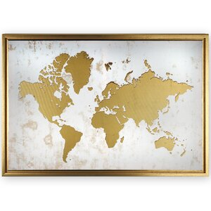 'Framed World Map' Graphic Art Print on Canvas by Ivy Bronx