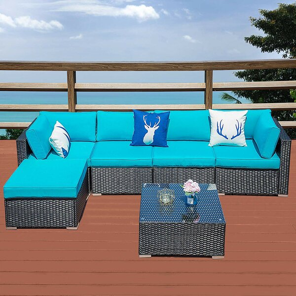 Soguda Outdoor 6 Piece Rattan Sectional Seating Group with Cushions by Latitude Run