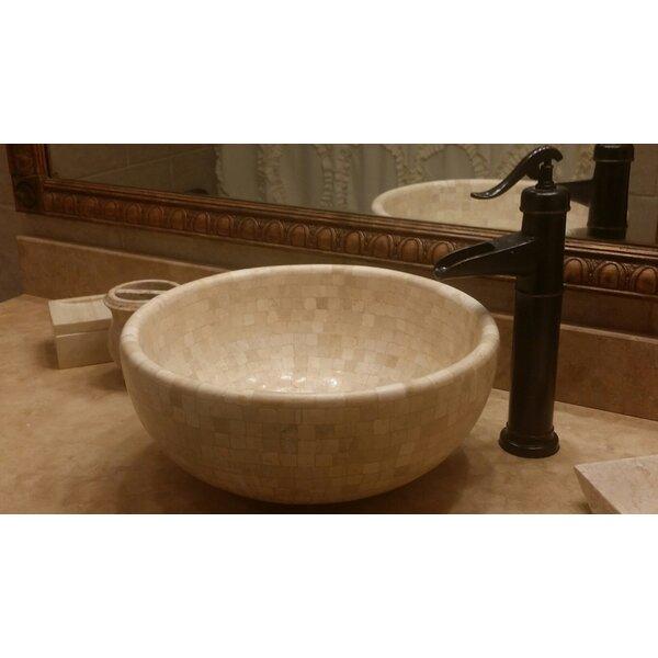 Mosaic Stone Circular Vessel Bathroom Sink