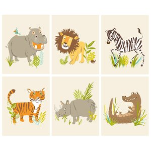 6 Piece Safari Friends Paper Print Set by Sea Urchin Studio