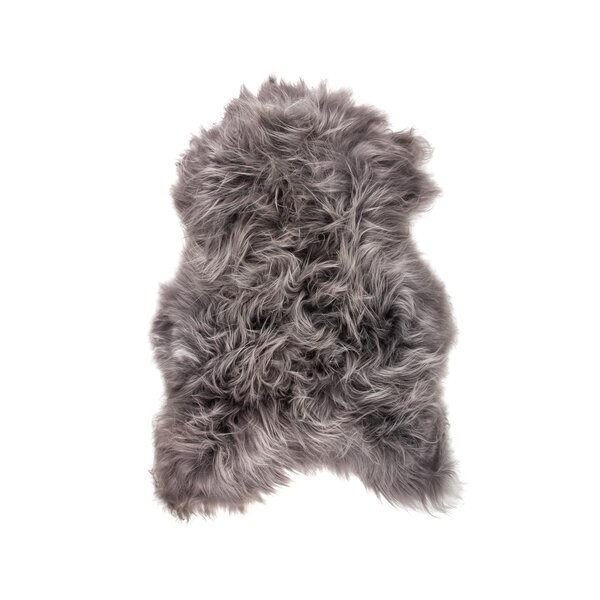 Algernon Long-Haired Hand-Woven Sheepskin Gray Area Rug by House of Hampton