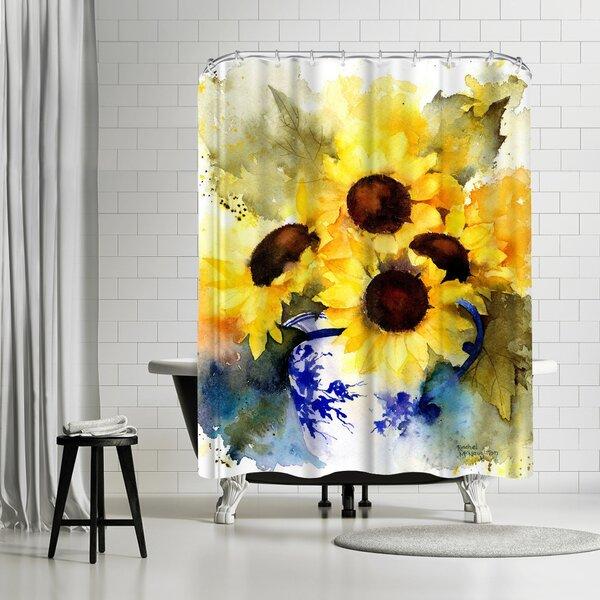 Rachel McNaughton Sunflowers Vase Shower Curtain by East Urban Home