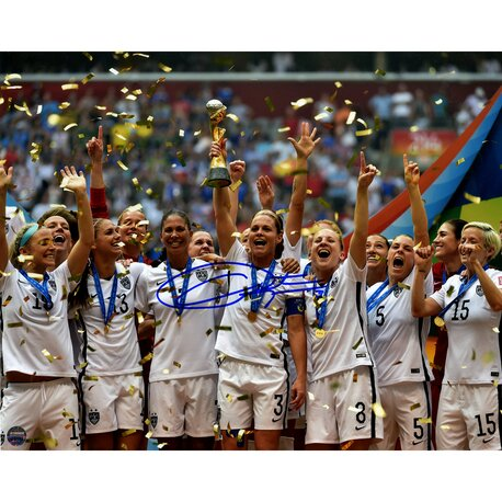 Christie Rampone Signed Team USA 2015 Womens World Cup Final Champions Trophy Celebration Photographic Print by Steiner Sports