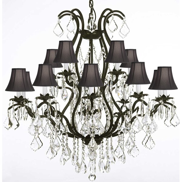 Clemence 15-Light Shaded Tiered Chandelier by Rosdorf Park Rosdorf Park