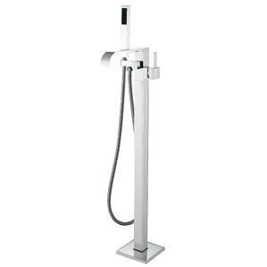 Angel Double Handle Floor Mounted Clawfoot Tub Faucet With Hand Shower