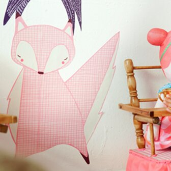 Gingiber Friendly Light Pink Fox Wall Decal by Pop & Lolli