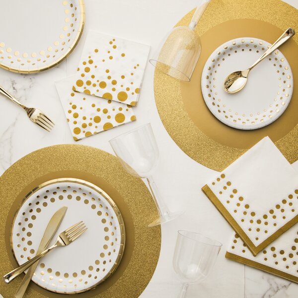 Holiday Sparkle And Shine Deluxe Paper And Plastic Tableware Kit By Creative Converting