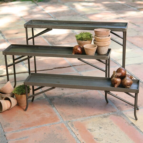 3 Piece Fireplace Pillar Racks Plant Stand Set by HomArt