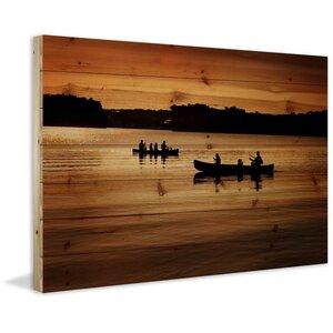 'Canoeing' by Parvez Taj Painting Print on Natural Pine Wood by Parvez Taj
