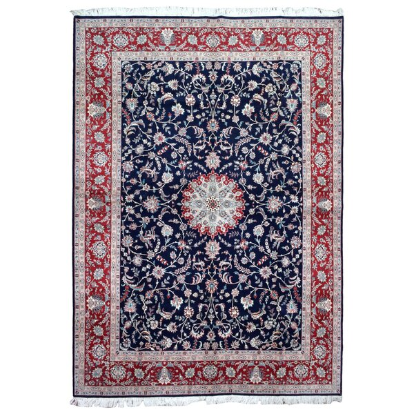 One-of-a-Kind Slagen Oriental Floral Hand Woven Rectangle Wool Navy Area Rug by Astoria Grand