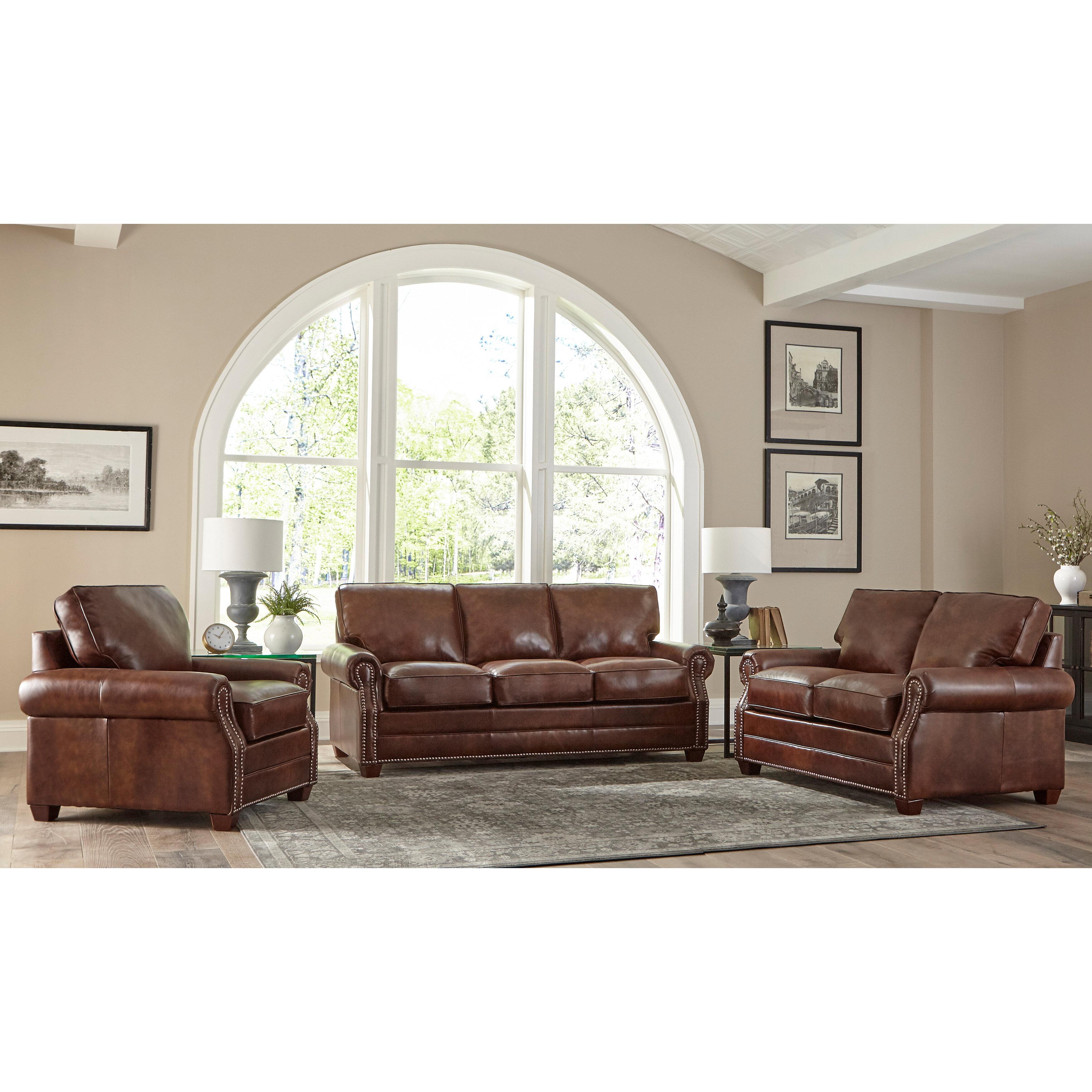 Lyndsey 3 Piece Leather Living Room Set