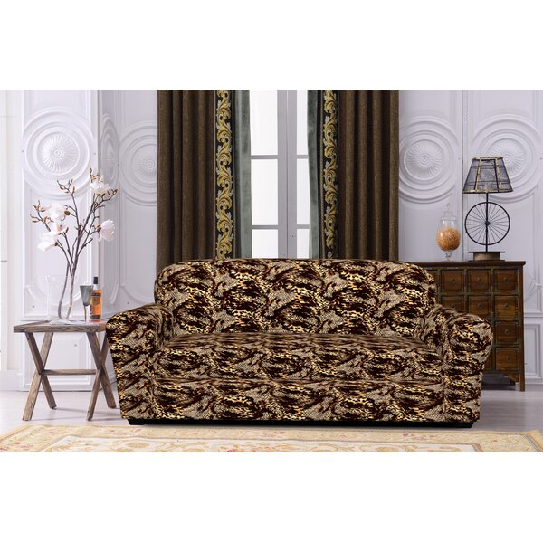 Printed Spandex Box Cushion Sofa Slipcover by House of Hampton