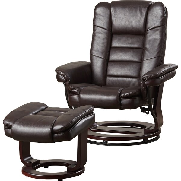 Hammersdale Manual Swivel Recliner with Ottoman by Alcott Hill