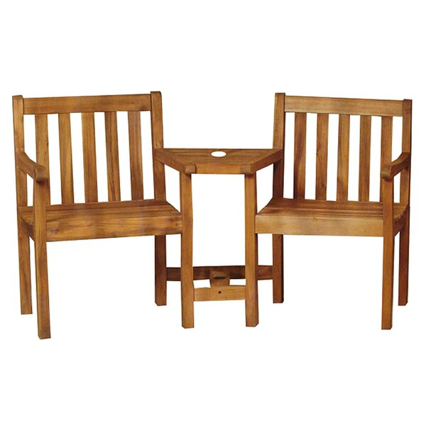 Teagan Acacia Wood 2 Piece 2 Person Seating Group by Millwood Pines