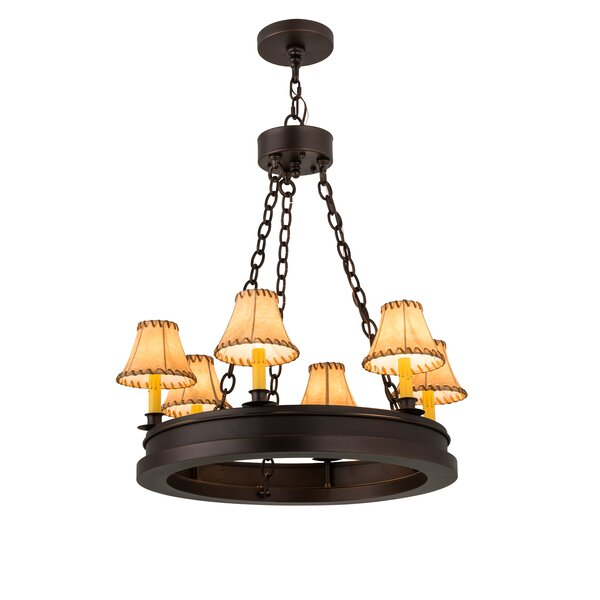 Tedford 6 - Light Shaded Wagon Wheel Chandelier by Canora Grey Canora Grey